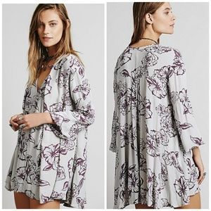 Free people floral foil print tunic swing dress
